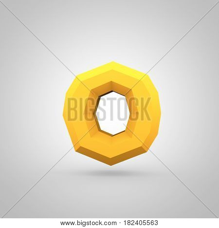 Yellow Low Poly Alphabet Letter O Lowercase Isolated On White Background.