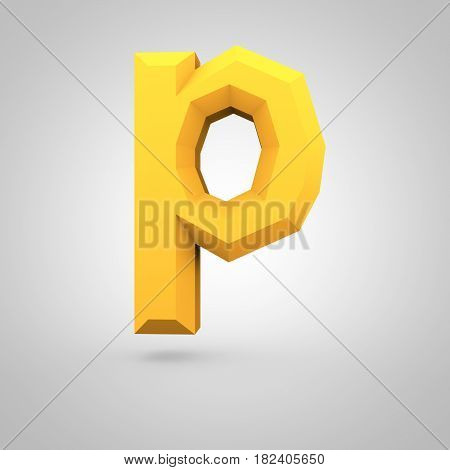 Yellow Low Poly Alphabet Letter P Lowercase Isolated On White Background.