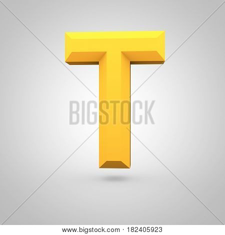 Yellow Low Poly Alphabet Letter T Uppercase Isolated On White Background.