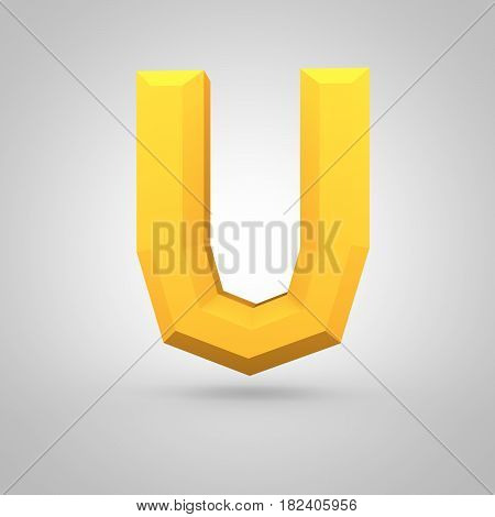 Yellow Low Poly Alphabet Letter U Uppercase Isolated On White Background.