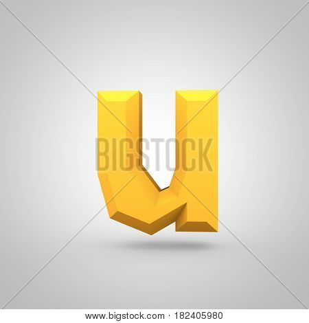 Yellow Low Poly Alphabet Letter U Lowercase Isolated On White Background.