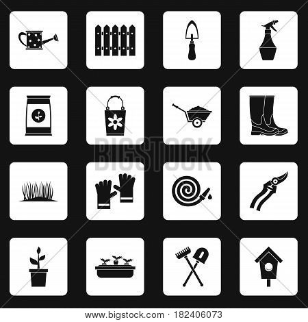 Gardening icons set in white squares on black background simple style vector illustration