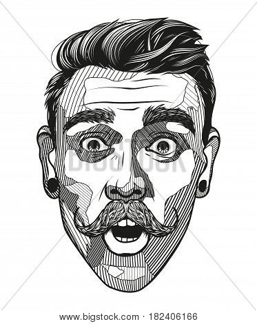 Hipster A Man With A Mustache Looks Surprised. Portrait Of Young Man With Shocked Facial Expression.