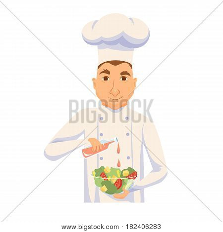 Chef cooking salad in restaurant or hotel kitchen. Cute cook in uniform holding vegetable dish and add sauce. Cartoon smile kitchener making healthy organic food. Professional master catering service
