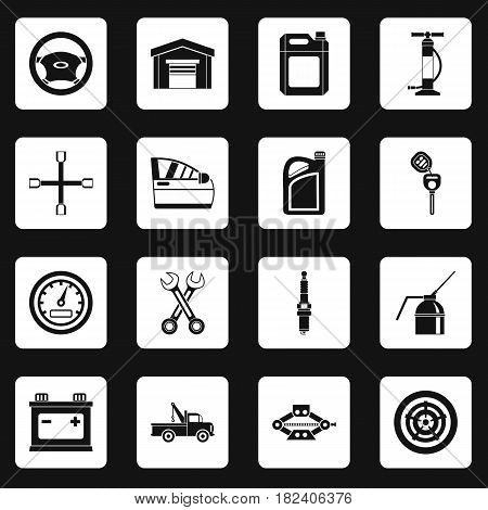 Car maintenance and repair icons set in white squares on black background simple style vector illustration