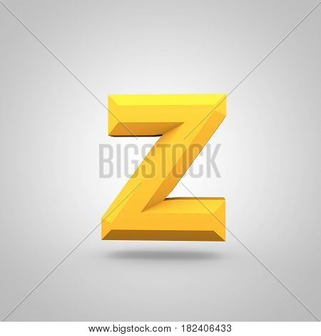 Yellow Low Poly Alphabet Letter Z Lowercase Isolated On White Background.