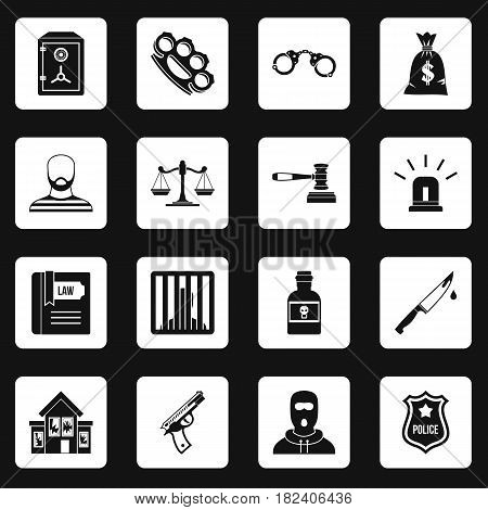 Crime and punishment icons set in white squares on black background simple style vector illustration