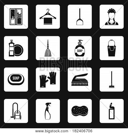 House cleaning icons set in white squares on black background simple style vector illustration
