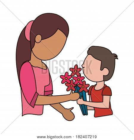 son gift bouquet flower to mother vector illustration eps 10