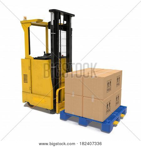 The render of self-propelled loader with boxes on pallet under the white background. 3D illustration