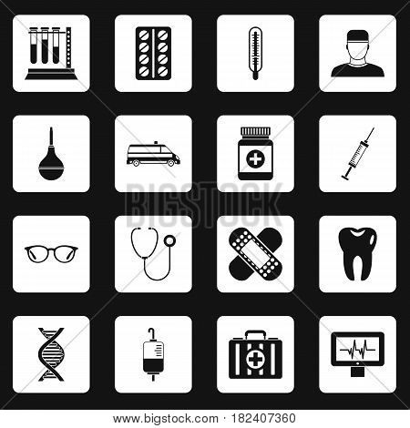 Medicine icons set in white squares on black background simple style vector illustration