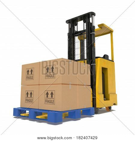 Yellow industrial fork lifter for cargo isolated on white background. 3D illustration