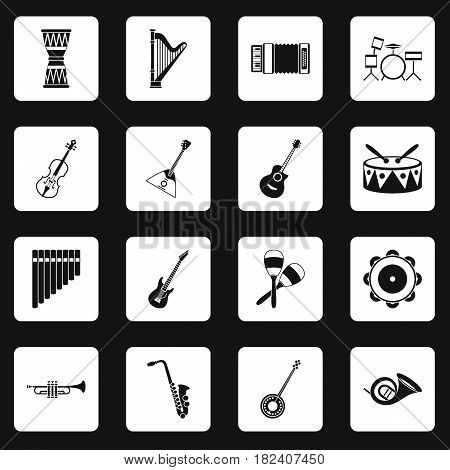Musical instruments icons set in white squares on black background simple style vector illustration