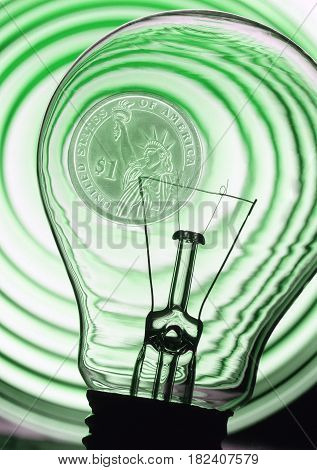 electric bulb on a green abstract background