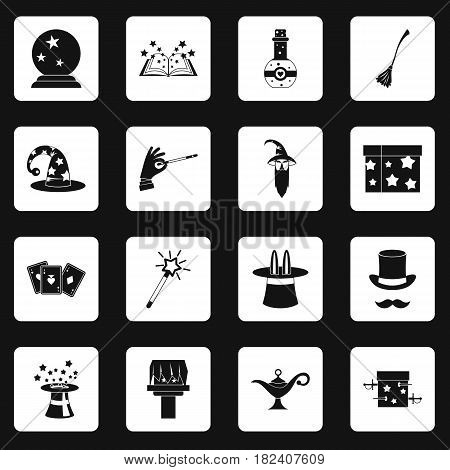 Magic icons set in white squares on black background simple style vector illustration