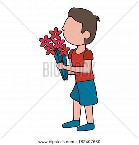 drawing son kid flower gift vector illustration eps 10