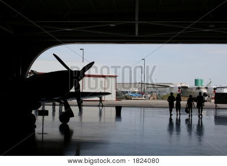 Air Plane Hangar Silhouette