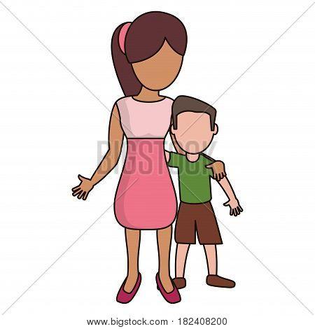 mother hugging son lovely vector illustration eps 10