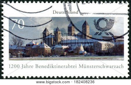 GERMANY - CIRCA 2016: A stamp printed in Germany dedicated to the 1200 years Muensterschwarzach Benedictine abbey circa 2016