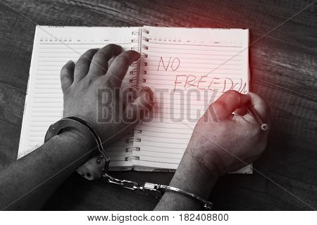 The prisoners were handcuffed and document operations. no freedom
