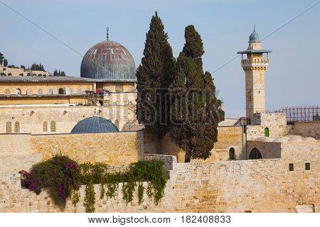 The Mosque of Caliph Omar - Al-Aqsa Mosque - and its minaret - the Muslim holy site in Jerusalem.