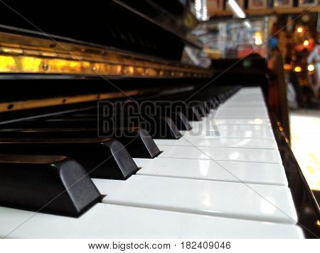 Piano keyboard closeup view,Music keyboard extreme close up detail black and white key selective focus