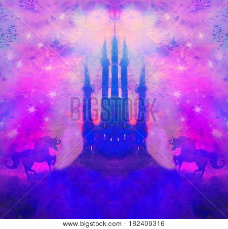 Castle and Unicorns on abstract background , raster