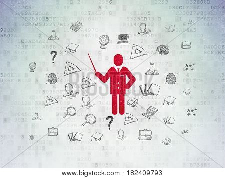 Education concept: Painted red Teacher icon on Digital Data Paper background with  Hand Drawn Education Icons