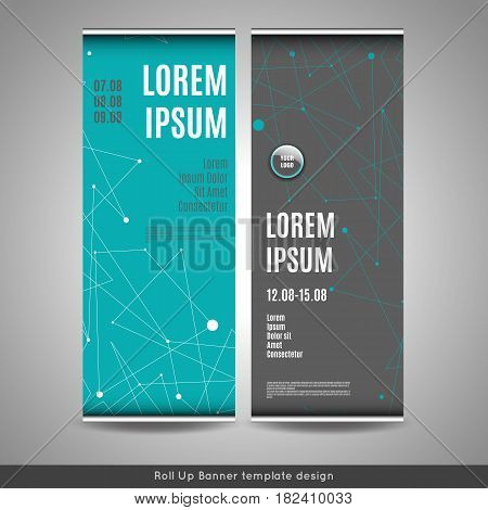 Roll Up banner layout template design with connection background. Flyer or brochure cover design. Stock vector.