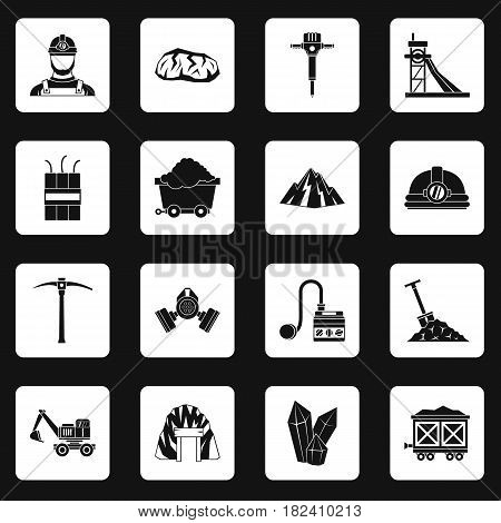 Miner icons set in white squares on black background simple style vector illustration