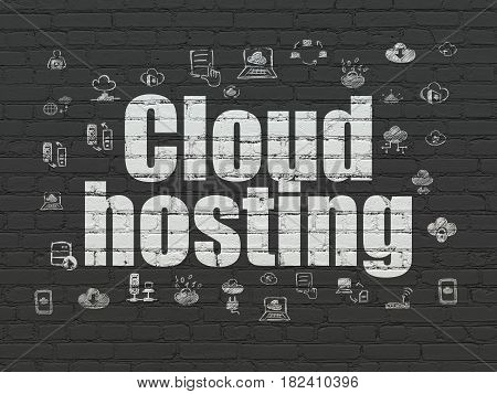 Cloud computing concept: Painted white text Cloud Hosting on Black Brick wall background with  Hand Drawn Cloud Technology Icons
