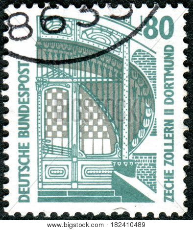 GERMANY - CIRCA 1987: A stamp printed in Germany shows an Entrance to Zollern II coal mine Dortmund circa 1987