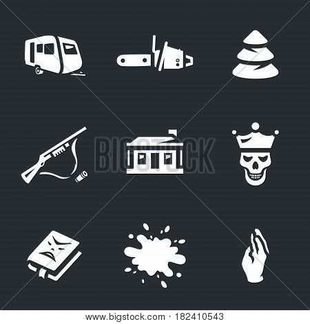 Trailer, chainsaw, wood, weapons, hut, dead man, book, blood, hand.