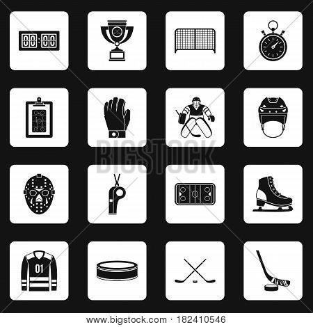 Hockey icons set in white squares on black background simple style vector illustration