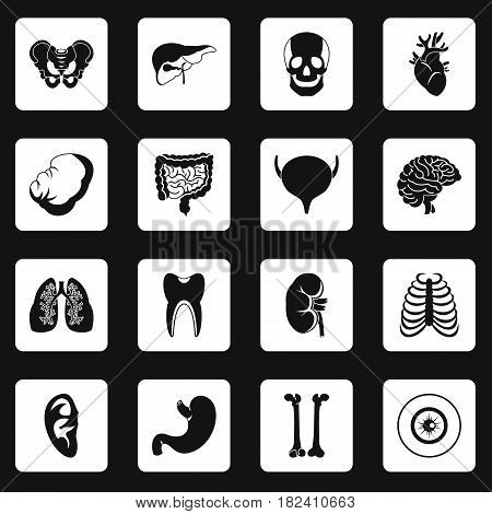 Human organs icons set in white squares on black background simple style vector illustration