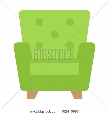 Armchair flat icon, Furniture and interior element, vector graphics, a colorful solid pattern on a white background, eps 10.