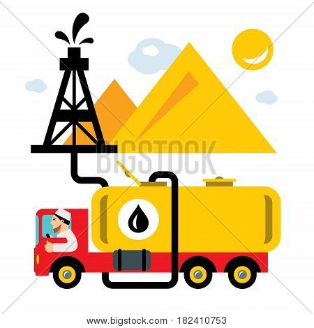Man pumping oil into the tank. Isolated on a white background