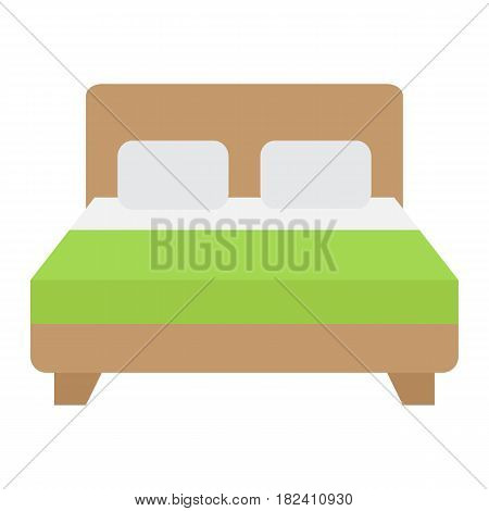 Double bed flat icon, Furniture and interior element, vector graphics, a colorful solid pattern on a white background, eps 10.