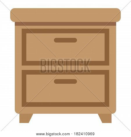 Bedside table flat icon, Furniture and interior element, vector graphics, a colorful solid pattern on a white background, eps 10.