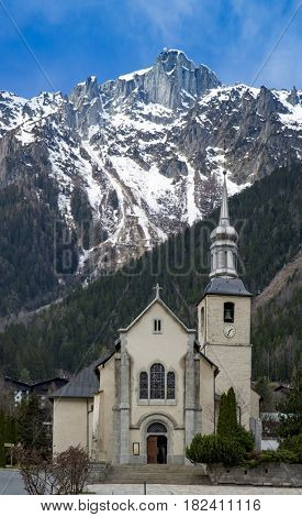Church and the mountain in Chamonix France