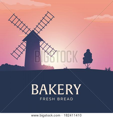 Rural Landscape With Windmill. Sunrise. Bakery. Fresh Bread. Vector Illustration.