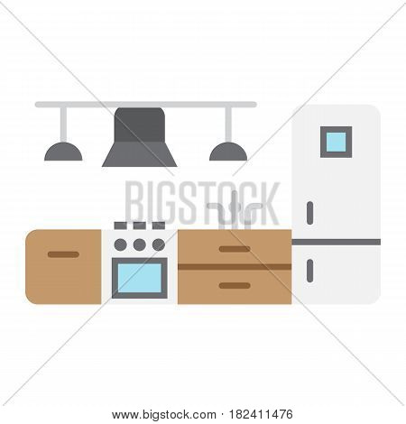 Kitchen furniture flat icon, Furniture and interior element, vector graphics, a colorful solid pattern on a white background, eps 10.