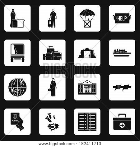 Refugees problem icons set in white squares on black background simple style vector illustration