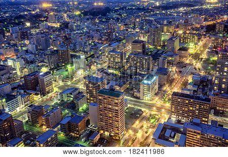 Skyline Hamamatsu, blu hour from 42nd floor. Okura City Act