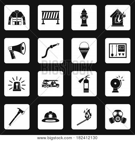 Fireman tools icons set in white squares on black background simple style vector illustration