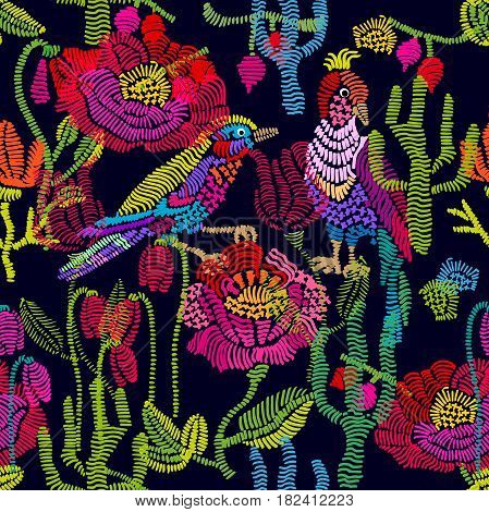 Seamless vector pattern with embroidered flowers, grass and birds. Vintage design composition.