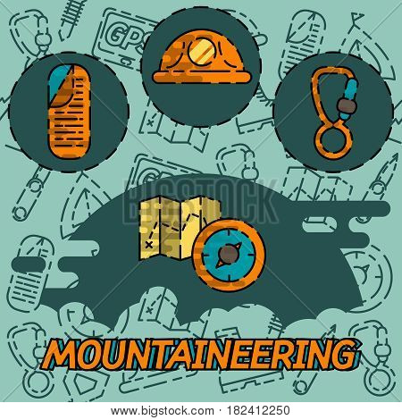 Mountaineering flat concept icons. Vector illustration, EPS 10