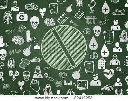 Healthcare concept: Chalk Green Pill icon on School board background with  Hand Drawn Medicine Icons, School Board