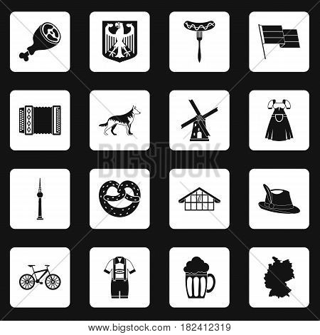 Germany icons set in white squares on black background simple style vector illustration