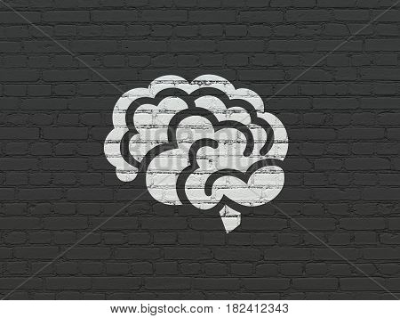 Medicine concept: Painted white Brain icon on Black Brick wall background
